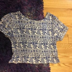 EUC forever 21 blue white crop top